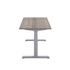 Grey Oak Glide Height Adjustable Desk, Silver Frame, Side View