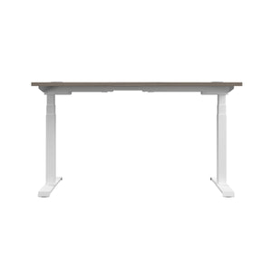 Grey Oak Glide Height Adjustable Desk, White Frame, Back View