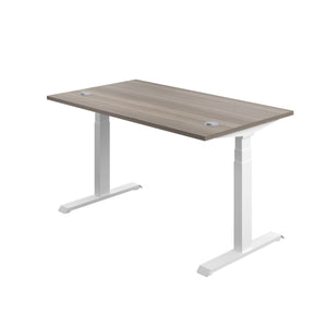 Grey Oak Glide Height Adjustable Desk, White Frame, Back Angle View