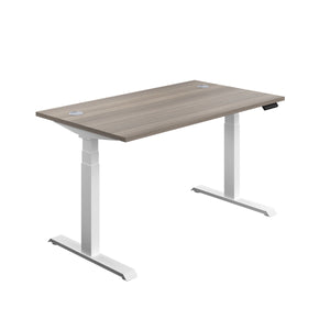 Grey Oak Glide Height Adjustable Desk, White Frame, Front Angle View