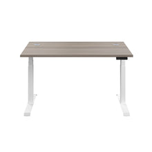 Load image into Gallery viewer, Grey Oak Glide Height Adjustable Desk, White Frame, Front View