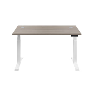 Grey Oak Glide Height Adjustable Desk, White Frame, Front View