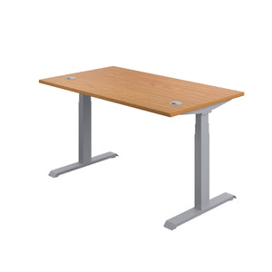 Oak Glide Height Adjustable Desk, Silver Frame, Back Angle View