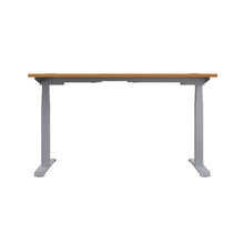 Load image into Gallery viewer, Oak Glide Height Adjustable Desk, Silver Frame, Back View