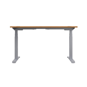 Oak Glide Height Adjustable Desk, Silver Frame, Back View