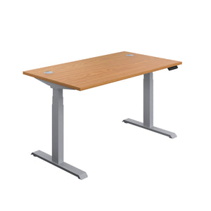 Oak Glide Height Adjustable Desk, Silver Frame, Front Angle View