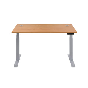 Oak Glide Height Adjustable Desk, Silver Frame, Front View