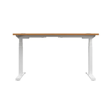 Load image into Gallery viewer, Oak Glide Height Adjustable Desk, White Frame, Back View