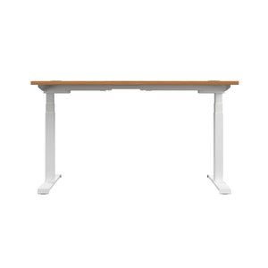 Oak Glide Height Adjustable Desk, White Frame, Back View