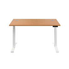 Load image into Gallery viewer, Oak Glide Height Adjustable Desk, White Frame, Front View