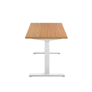 Oak Glide Height Adjustable Desk, White Frame, Side View