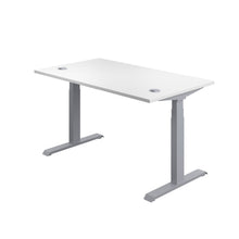 Load image into Gallery viewer, White Glide Height Adjustable Desk, Silver Frame, Back Angle View