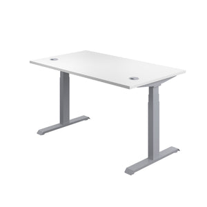 White Glide Height Adjustable Desk, Silver Frame, Back Angle View