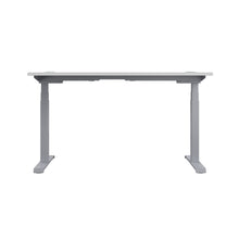 Load image into Gallery viewer, White Glide Height Adjustable Desk, Silver Frame, Back View
