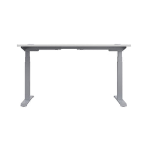 White Glide Height Adjustable Desk, Silver Frame, Back View