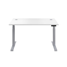 Load image into Gallery viewer, White Glide Height Adjustable Desk, Silver Frame, Front View