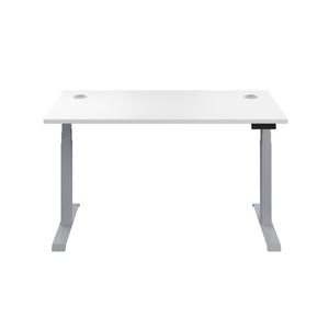 White Glide Height Adjustable Desk, Silver Frame, Front View