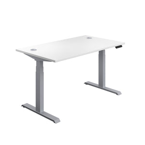 White Glide Height Adjustable Desk, Silver Frame, Front Angle View