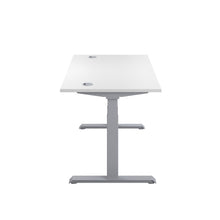Load image into Gallery viewer, White Glide Height Adjustable Desk, Silver Frame, Side View