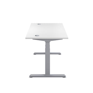 White Glide Height Adjustable Desk, Silver Frame, Side View