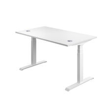 Load image into Gallery viewer, White Glide Height Adjustable Desk, White Frame, Back Angle View