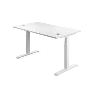 White Glide Height Adjustable Desk, White Frame, Back Angle View