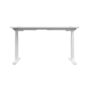 White Glide Height Adjustable Desk, White Frame, Back View