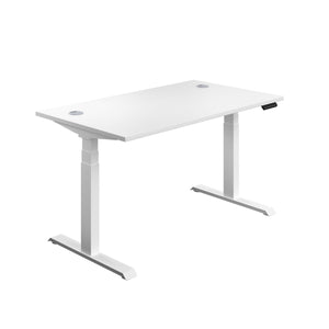 White Glide Height Adjustable Desk, White Frame, Front Angle View
