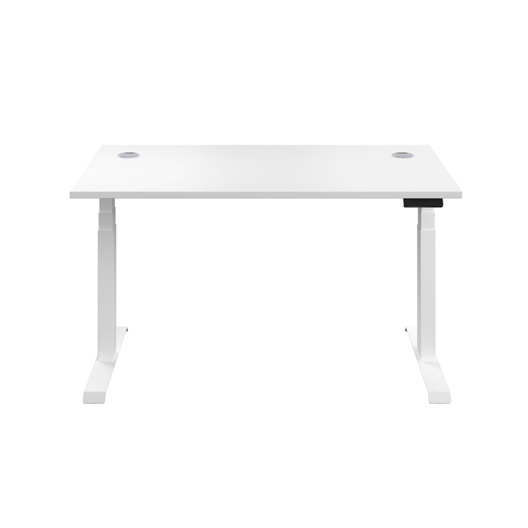 White Glide Height Adjustable Desk, White Frame, Front View