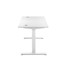 Load image into Gallery viewer, White Glide Height Adjustable Desk, White Frame, Side View