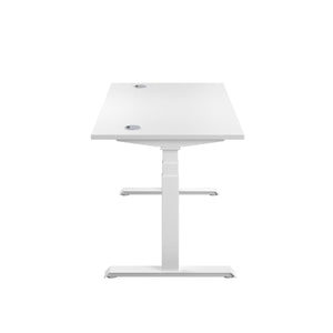 White Glide Height Adjustable Desk, White Frame, Side View