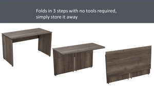 Folding desk, 3 steps to store flat