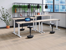 Load image into Gallery viewer, Glide Height Adjustable Desk, White Frame, Shelving, Office Set Up