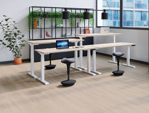 Glide Height Adjustable Desk, White Frame, Shelving, Office Set Up