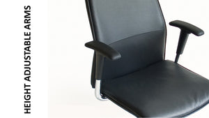 Leather work chair with high back and height adjustable arms