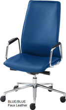 Load image into Gallery viewer, HIgh Back Executive chair, blue faux leather