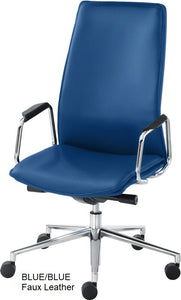 HIgh Back Executive chair, blue faux leather