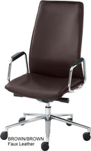 Load image into Gallery viewer, HIgh Back Executive chair, brown faux leather