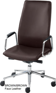 HIgh Back Executive chair, brown faux leather