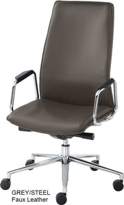 HIgh Back Executive chair, green faux leather