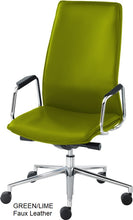 Load image into Gallery viewer, HIgh Back Executive chair, green faux leather