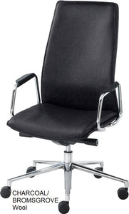 HIgh Back Executive chair, charcoal wool