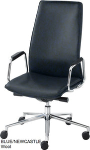 High Back Executive chair, blue wool