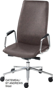 HIgh Back Executive chair, oatmeal wool
