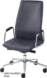 High Back Executive chair, grey wool