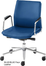 Load image into Gallery viewer, Work chair, Blue Faux Leather