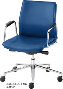 Work chair, Blue Faux Leather