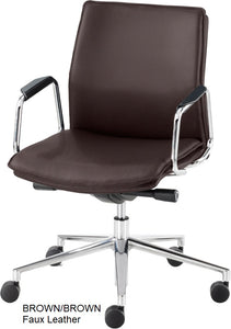 Work chair, Brown Faux Leather