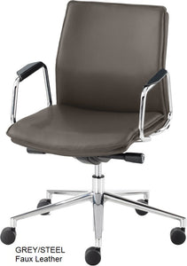 Work chair,  Grey Faux Leather
