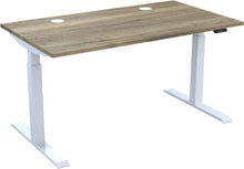 Load image into Gallery viewer, Electric height adjustable standing desk with natural Halifax oak top and white frame